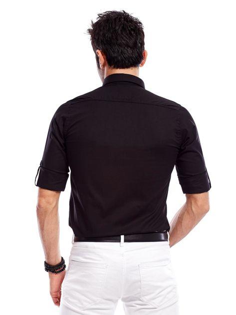Koszula męska czarna slim fit                              zdj.                              2