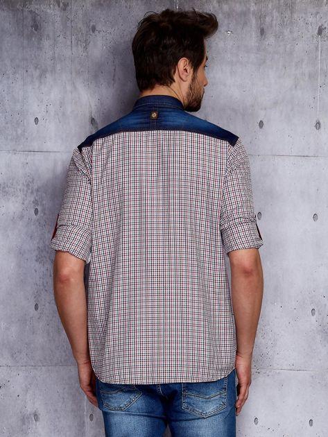 Koszula męska z denimowymi modułami PLUS SIZE                              zdj.                              2