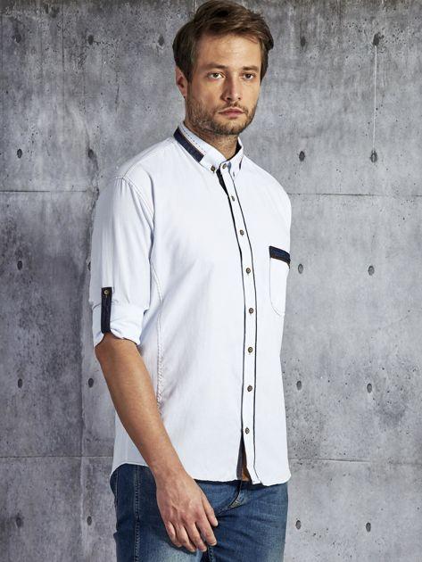 Koszula męska z kieszenią biała PLUS SIZE                              zdj.                              6