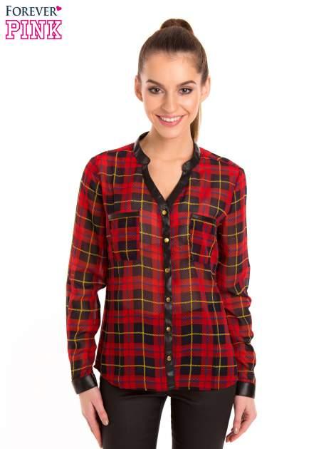 Koszula w czerwoną kratę ze skórzaną lamówką                                  zdj.                                  1