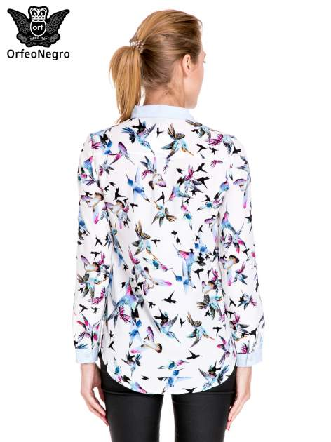 Koszula w kolibry z błękitnym kołnierzykiem, mankietami i listwą                                  zdj.                                  4