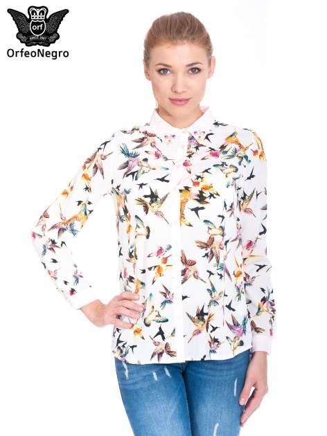 Koszula w kolibry z różowym kołnierzykiem, mankietami i listwą                                  zdj.                                  1
