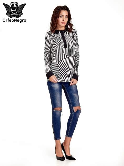 Koszula w zebrę z kontrastowymi mankietami i listwą                                  zdj.                                  4