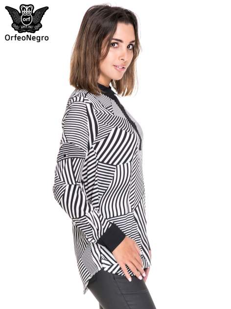 Koszula we wzór zebra print z czarną stójką i mankietami                                  zdj.                                  3
