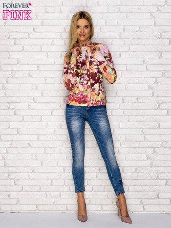 Koszula z nadrukiem kwiatów i pasków fioletowa                              zdj.                              4