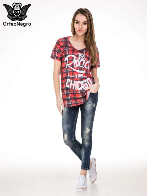 Kraciasty t-shirt z napisem THE ROAD IS OURS CHICACO