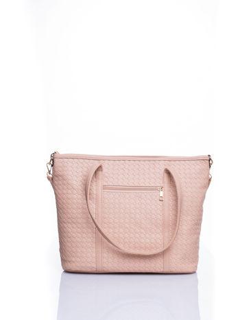 Kremoowa pleciona torba shopper bag ze złotym detalem                                  zdj.                                  3