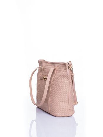 Kremoowa pleciona torba shopper bag ze złotym detalem                                  zdj.                                  4