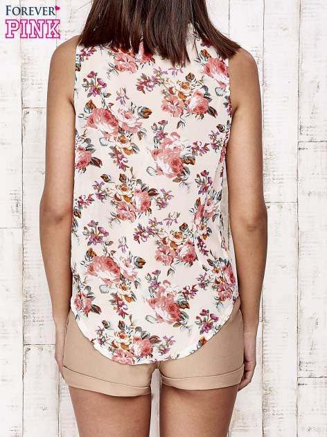Kremowa bluzka koszulowa w róże                                  zdj.                                  5