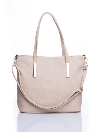 Kremowa fakturowana torba shopper bag