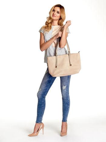 Kremowa prosta torba shopper bag                                  zdj.                                  2