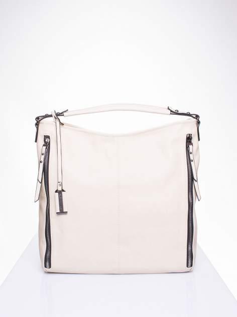 Kremowa torba hobo z suwakami po bokach