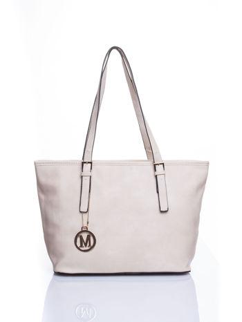 Kremowa torba shopper bag z regulowanymi rączkami                                  zdj.                                  1