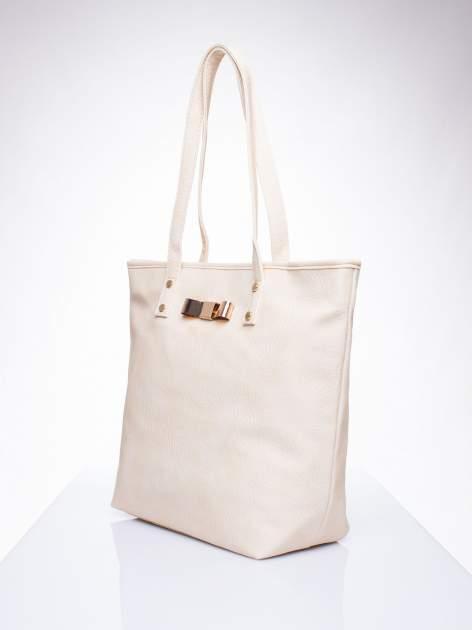 Kremowa torebka shopper bag z kokardką                                  zdj.                                  3