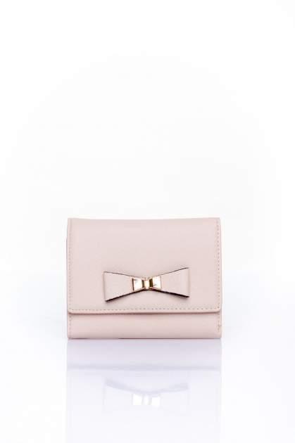 Kremowy portfel z kokardką