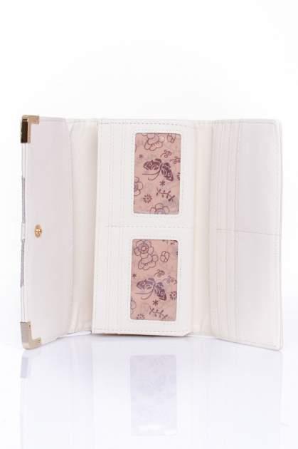 Kremowy portfel z ozdobnym detalem i złotymi okuciami                                  zdj.                                  4