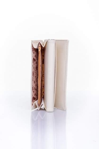 Kremowy portfel z ozdobnym detalem i złotymi okuciami                                  zdj.                                  5