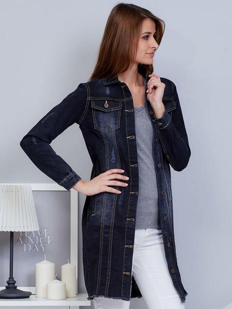 Kurtka jeansowa ciemnoszara z przetarciami                              zdj.                              5