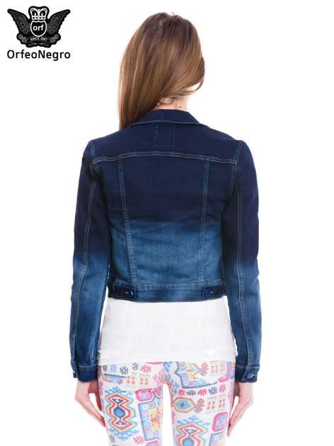 Kurtka jeansowa damska z efektem ombre w kolorze indygo                                  zdj.                                  4