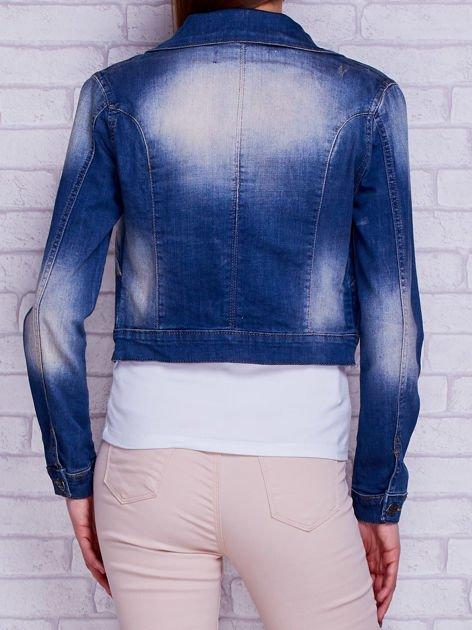 Kurtka jeansowa ramoneska z przetarciami niebieska                                  zdj.                                  2