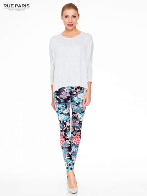 Kwiatowe legginsy w kolorze niebieskim                                  zdj.                                  2
