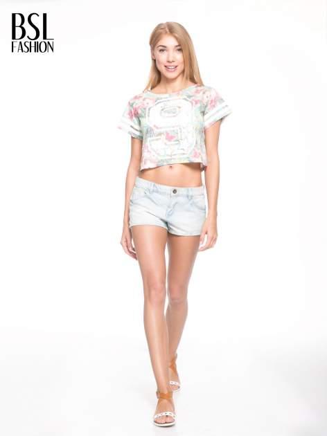 Kwiatowy t-shirt typu crop top z numerkiem                                  zdj.                                  5