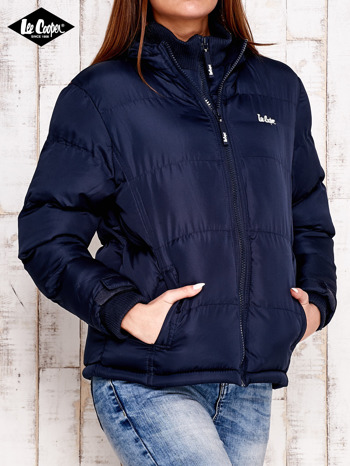 LEE COOPER Granatowa pikowana kurtka ze stójką                                  zdj.                                  2