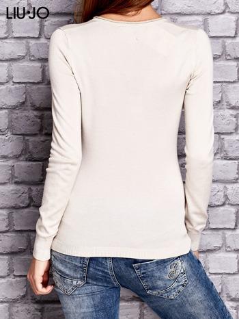 LIU JO Beżowy sweter z trójkątnym dekoltem                                  zdj.                                  3