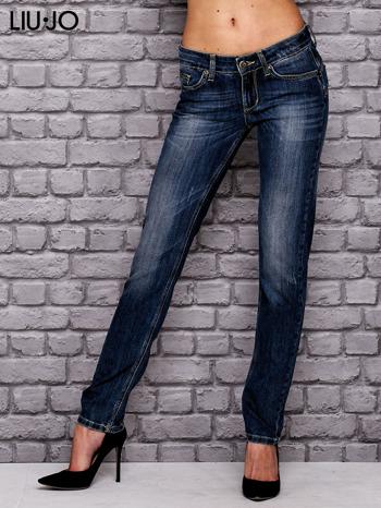 LIU JO Ciemnoniebieskie spodnie jeansowe z prostą nogawką                                  zdj.                                  1