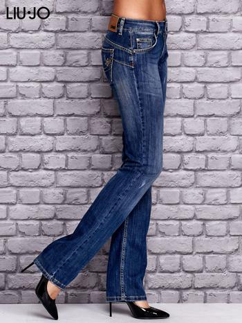 LIU JO Ciemnoniebieskie spodnie jeansowe z przetarciami                                  zdj.                                  2