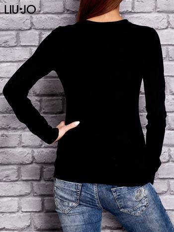 LIU JO Czarny sweter z trójkątnym dekoltem                                  zdj.                                  2