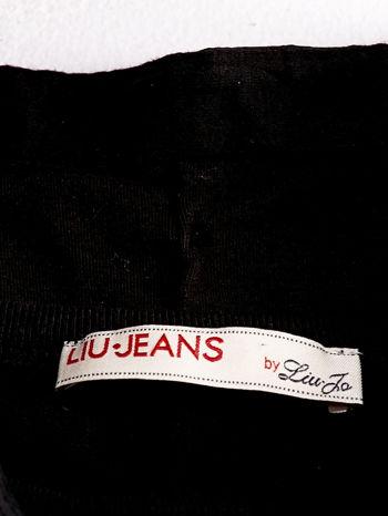 LIU JO Czarny t-shirt z guzikami                                  zdj.                                  4