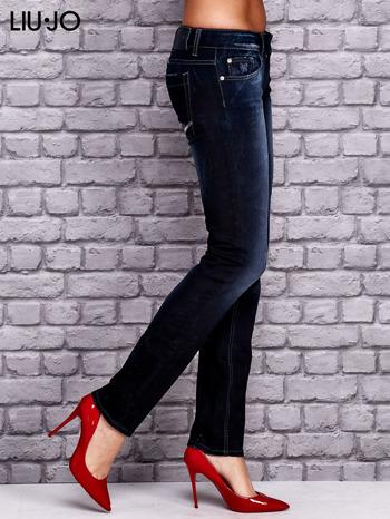 LIU JO Granatowe spodnie jeansowe z przetarciami                                  zdj.                                  3