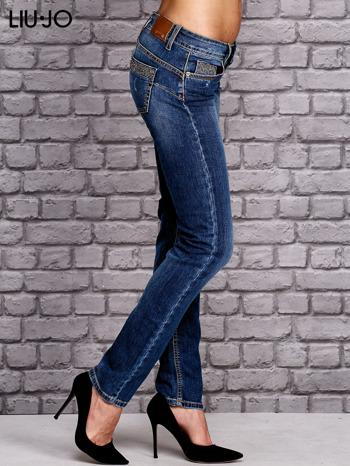 LIU JO Niebieskie spodnie jeansowe z błyszczącymi aplikacjami                                  zdj.                                  2