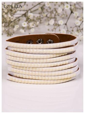 LOLITA Biała bransoletka skórzana WRAP kryształki cyrkonie szeroka 5 cm BLOGERS HIT                                  zdj.                                  2