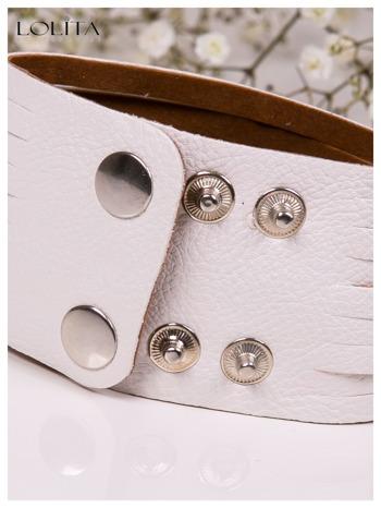 LOLITA Biała bransoletka skórzana WRAP kryształki cyrkonie szeroka 5 cm BLOGERS HIT                                  zdj.                                  5