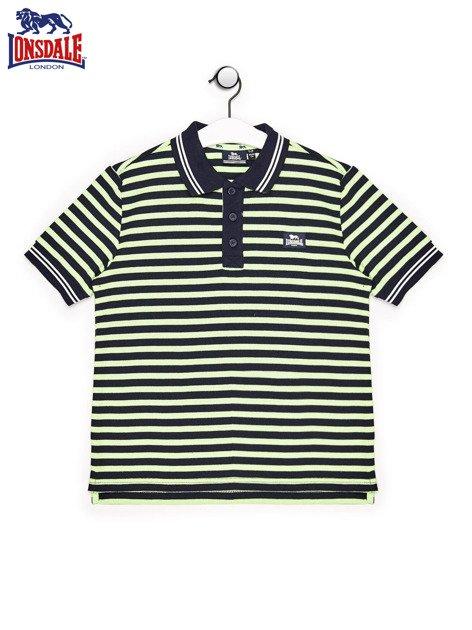 LONSDALE Granatowa koszulka polo chłopięca w paski                                  zdj.                                  1