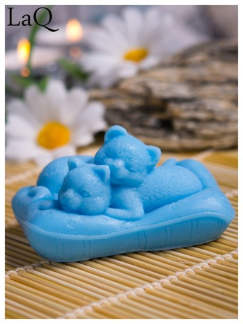 LaQ Mydełko Koty na poduszce - niebieski / Zapach - wata cukrowa BEZ SLS i SLES                                  zdj.                                  1