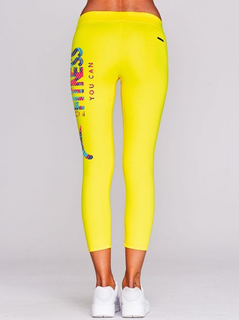 Legginsy do biegania z barwnym nadrukiem żółte                                  zdj.                                  3