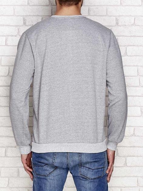 Lekko ocieplana bluza męska z napisem BROOKLYN szara