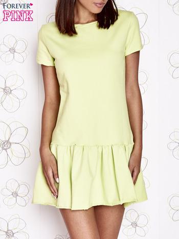 Limonkowa dresowa sukienka z wycięciem na plecach                                   zdj.                                  1