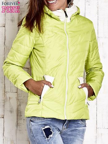 Limonkowa pikowana kurtka z jasnym wykończeniem                                  zdj.                                  1