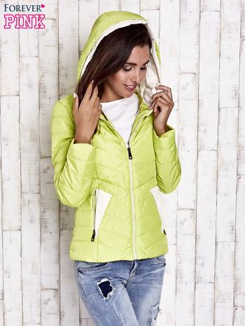 Limonkowa pikowana kurtka z jasnym wykończeniem                                  zdj.                                  5