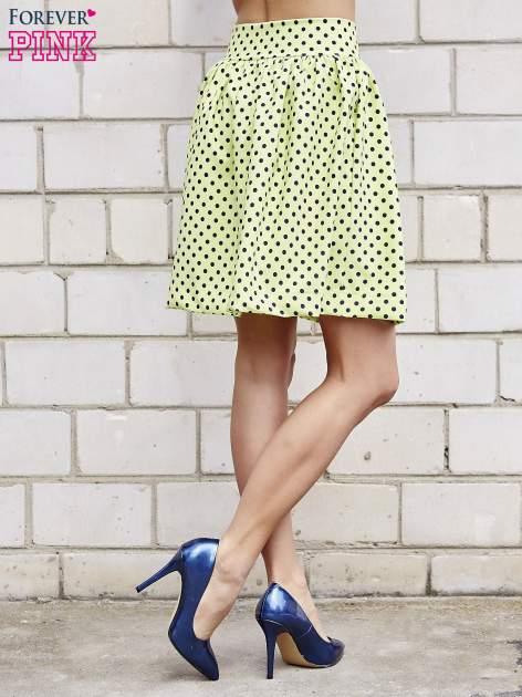 Limonkowa spódnica w grochy z plisami                                  zdj.                                  5