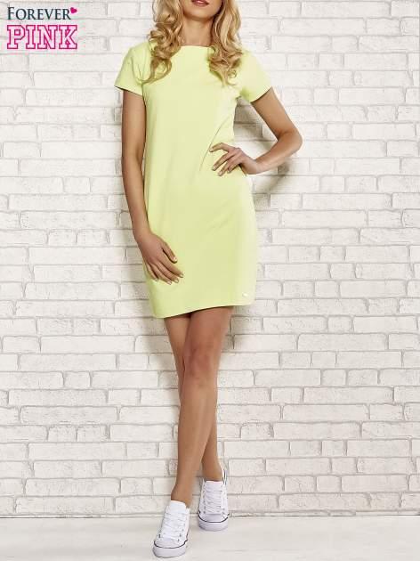 Limonkowa sukienka dresowa o prostym kroju                                  zdj.                                  4