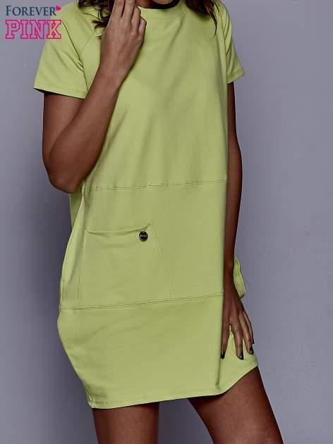 Limonkowa sukienka dresowa z kieszenią z boku                                  zdj.                                  1
