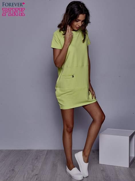 Limonkowa sukienka dresowa z kieszenią z boku                                  zdj.                                  2