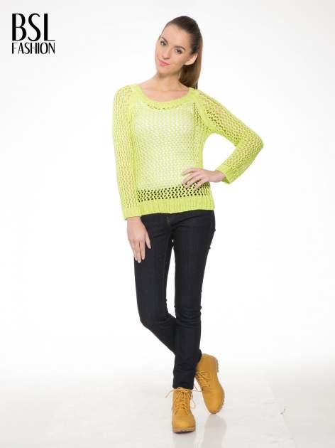 Limonkowy siatkowy sweter                                  zdj.                                  2