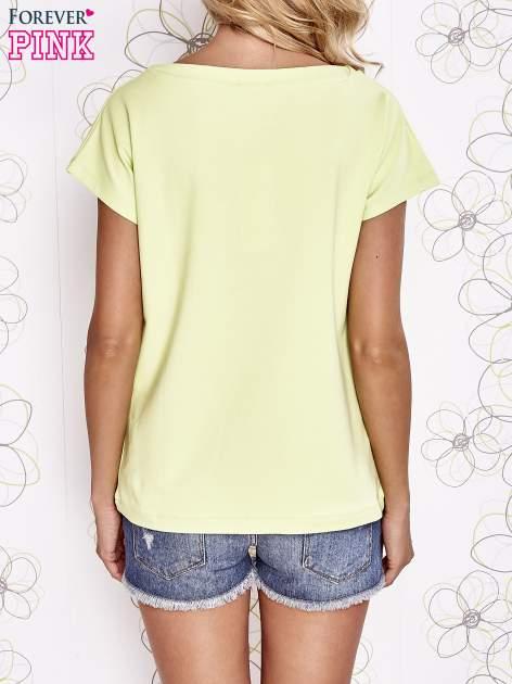 Limonkowy t-shirt z nadrukiem owadów                                  zdj.                                  4