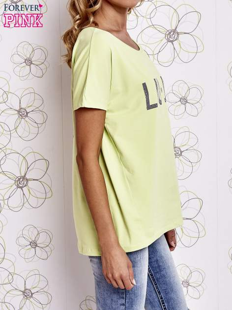 Limonkowy t-shirt z napisem LIU J❤                                  zdj.                                  3